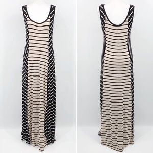 Calvin Klein Maxi Dress Striped Illusion Black Tan
